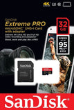 SanDisk Extreme Pro 32GB UHS-I U3 4K Video microSD Card w/ SD Adapter