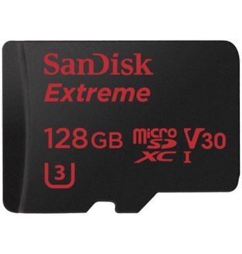 SanDisk Extreme 128GB UHS-I U3 4K Video microSD Card w/ SD Adapter