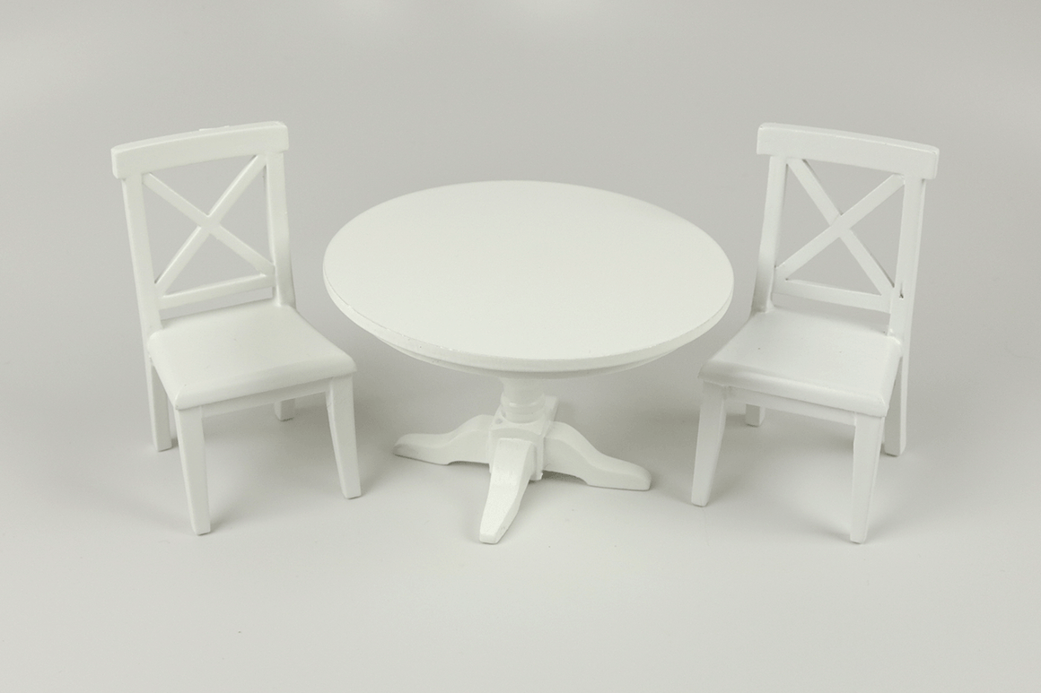 Modern Round Table and Chairs in White