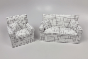 White Random Crosshatch Pattern Chair