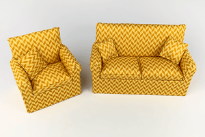 Gold Zig-Zag Diamond Couch