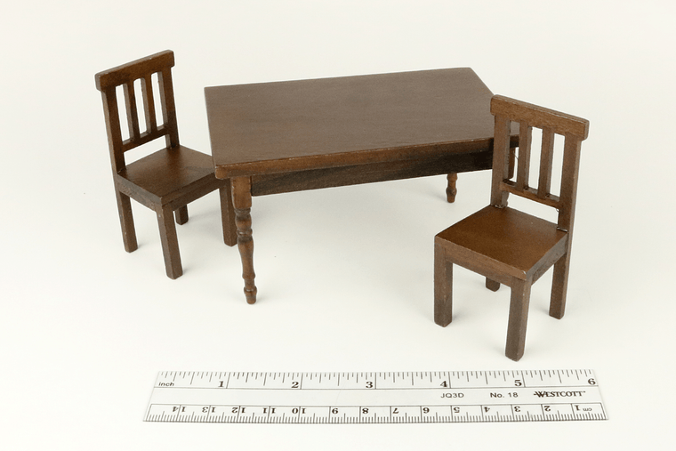 Modern Walnut Table and Chairs Set