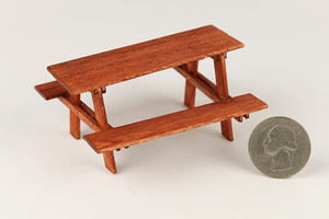 Half Scale Weathered Red Picnic Table