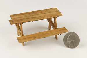 Half Scale Weathered Wood Picnic Table