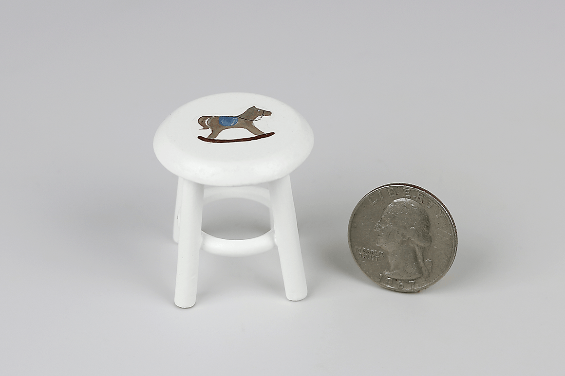 Small Stool with Rocking Horse Decal