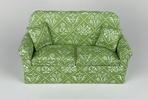 Mixed Floral Green Lattice Couch