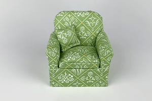 Mixed Floral Green Lattice Chair