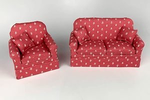 Mahogany Red & Cream Flower Couch