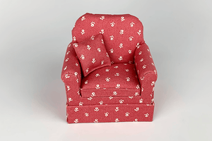 Mahogany Red & Cream Flower Chair