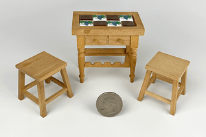 Wooden Tiled Table and Stools