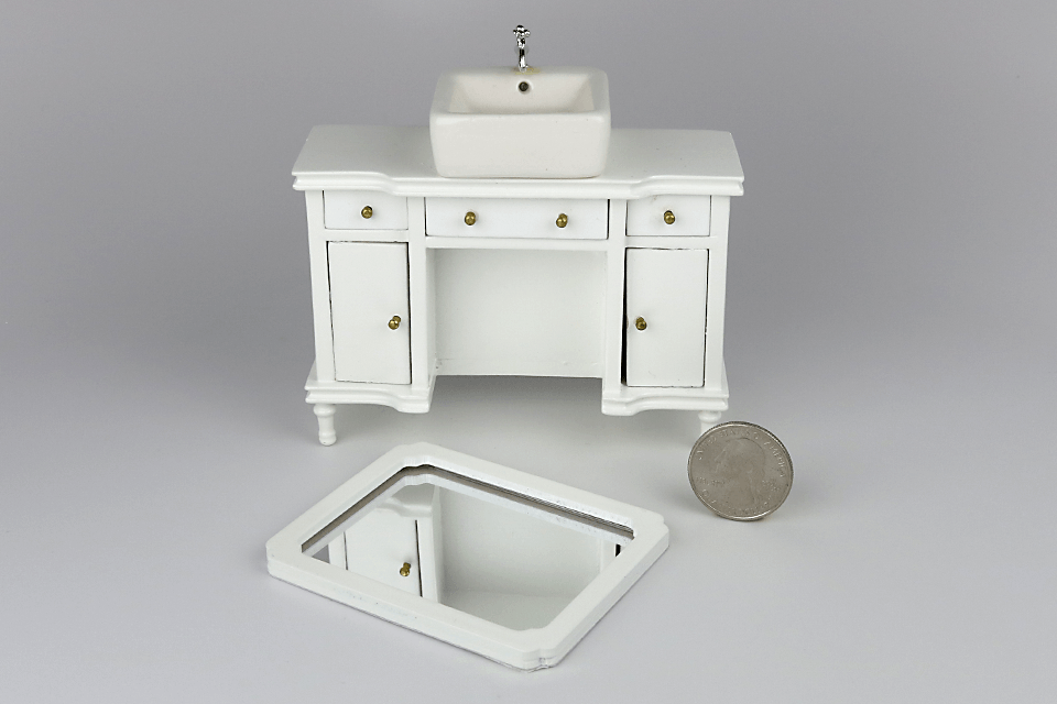 A Modern Living Room, Pedestal Sink Vanity With Mirror Dollhouse Alley