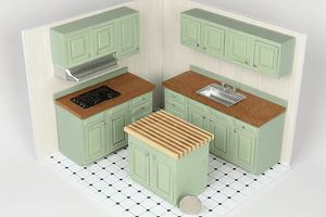 Green Butcher Block 5-Piece Kitchen Set