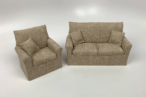 Beige with White Crosshatch Couch