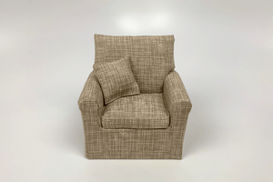 Beige with White Crosshatch Chair