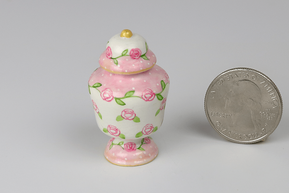 Pink and White Floral Covered Jar