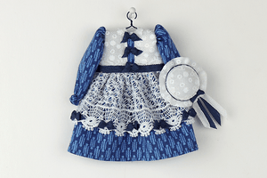 Blue Lacy Dress with Pinafore and Hat