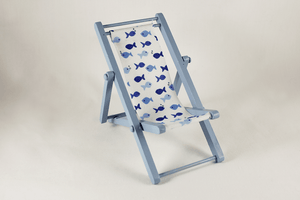 Sling Chair (Assorted Colors) - Blue Chair, Fish Fabric - Dollhouse Alley - 1