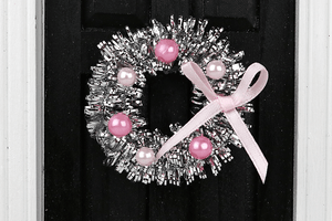 Silver Tinsel Wreath with Pink Accents