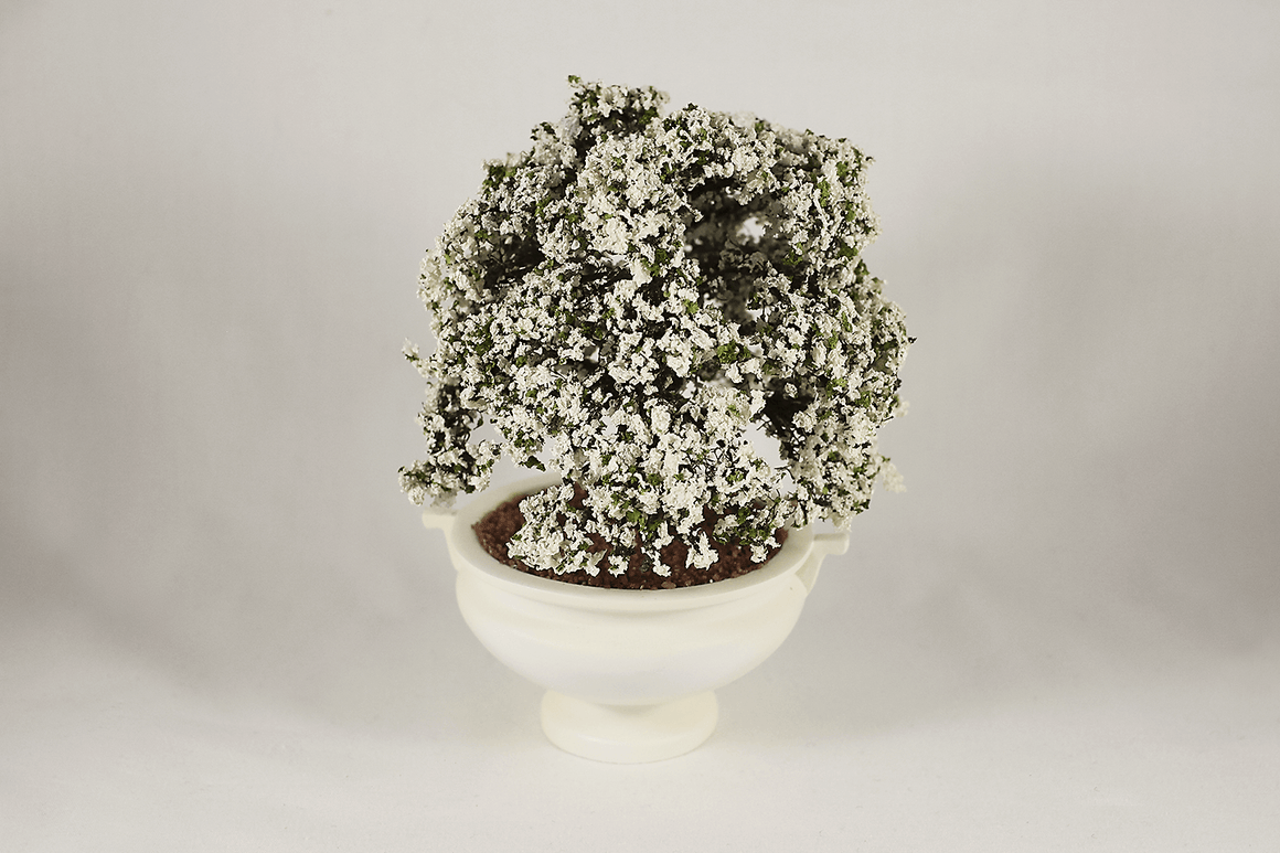 White Flower Shrub in Planter -  - Dollhouse Alley - 1