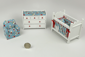 Blue & Red Scottie Dogs 3-Piece Nursery Set