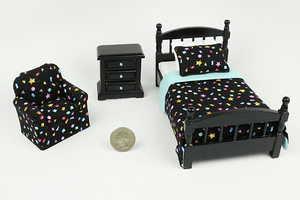 Black Bedroom Set with Stars & Shapes Print