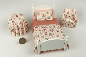 White Bedroom Set in Pink Floral Stripe Print