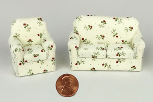 Cream Color Floral Couch and Chair (Half Scale)
