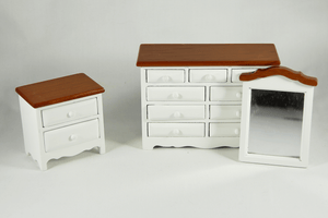 White and Pecan Bedroom Set -  - Dollhouse Alley - 1