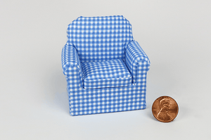 Bright and Blue Check Print Child's Chair
