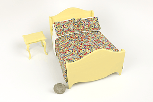 Yellow and Dark Floral Print 2-Piece Bedroom Set