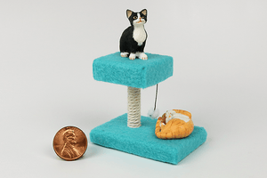 Square Cat Tower in Turquoise
