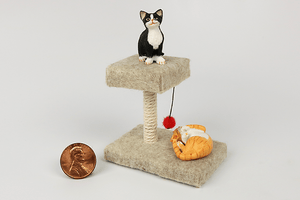 Square Cat Tower in Beige