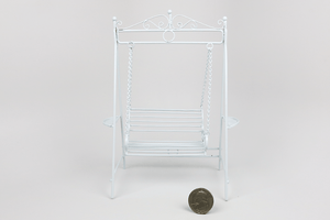 White Metal Bench Swing