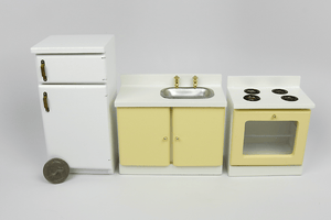 Simple White and Yellow Kitchen Appliance Set