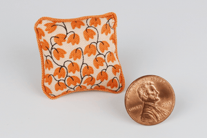Orange Flowers Print Pillow