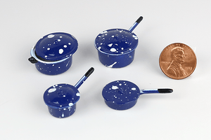 Blue Spatter Metal Pots and Pans Set