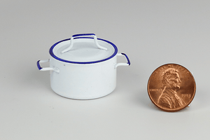 White and Blue Metal Stock Pot with Lid