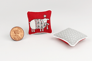 Sheep on Red Festive Pillow