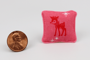 Reindeer on Pink Festive Pillow