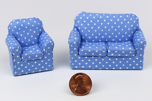 Bright Blue Polka Dot Chair and Couch (Half Scale)