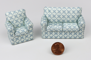 Floral Blue Lattice Polka Dot Couch and Chair (Half Scale)