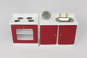 Simple White and Red Kitchen Appliance Set