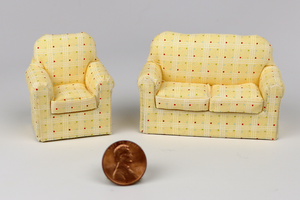 Yellow Crosshatch and Polka Dot Couch and Chair (Half Scale)