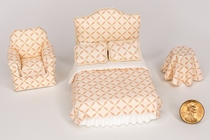 Half Scale Peachy Pink Crosshatch Print 3-Piece Bed Set
