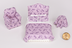 Half Scale Purple Leaf-Dot Print 3-Piece Bed Set