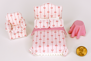 Half Scale Pink Hearts Print 3-Piece Bed Set