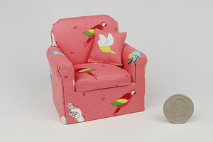 Tropical Birds Salmon Color Chair