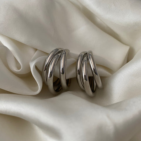triple hoop earrings - SILVER