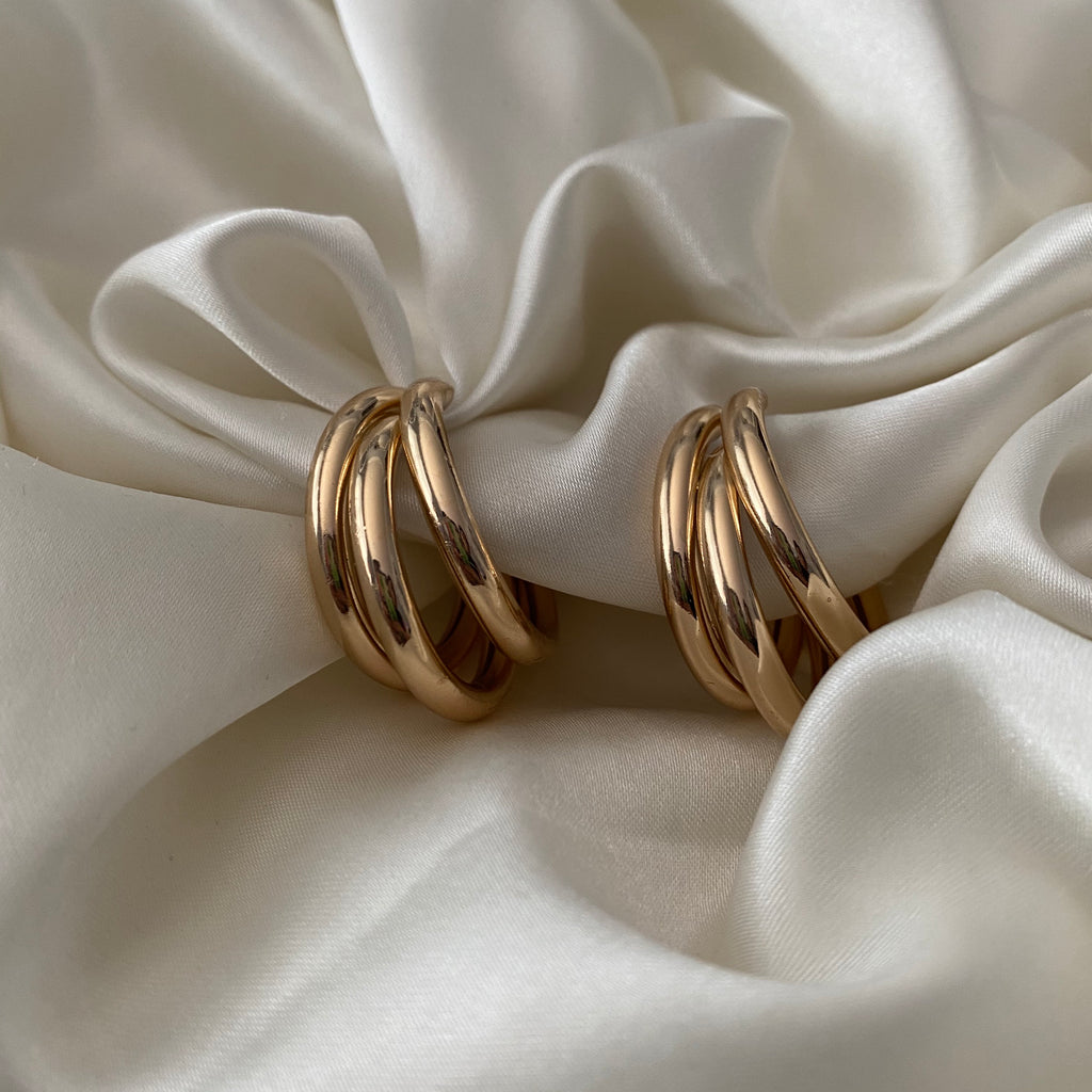 triple hoop earrings - GOLD