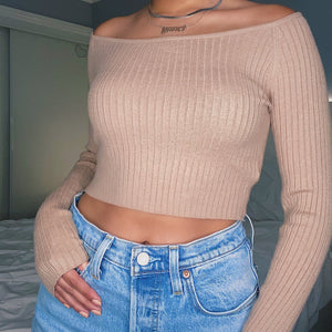 ashley knit crop top - beige